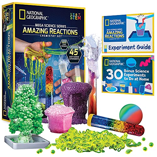 NATIONAL GEOGRAPHIC Amazing Chemistry Set - Mega Chemistry Kit with Over 15 Science Experiments, Make Glowing Worms, a Crystal Tree, Fizzy Solutions, and More, Great STEM Gift for Girls and Boys