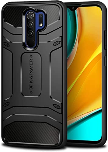 KAPAVER Rugged Back Cover Case for Xiaomi Redmi 9 Prime Xiaomi Poco M2 MIL STD 810G Officially Drop Tested Solid Black Shock Proof Slim Armor Patent Design Only for redmi 9 Prime Poco m2