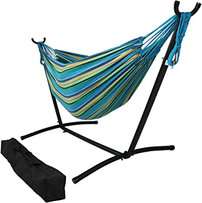 Sunnydaze Double Brazilian Hammock with Stand & Carrying Case - Large Two Person Hammock with Brazilian Stand - 400 Pound Capacity - Sea Grass