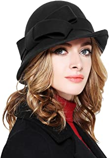 8adf2c9c3d1 Bellady Women Solid Color Winter Hat 100% Wool Cloche Bucket with Bow Accent