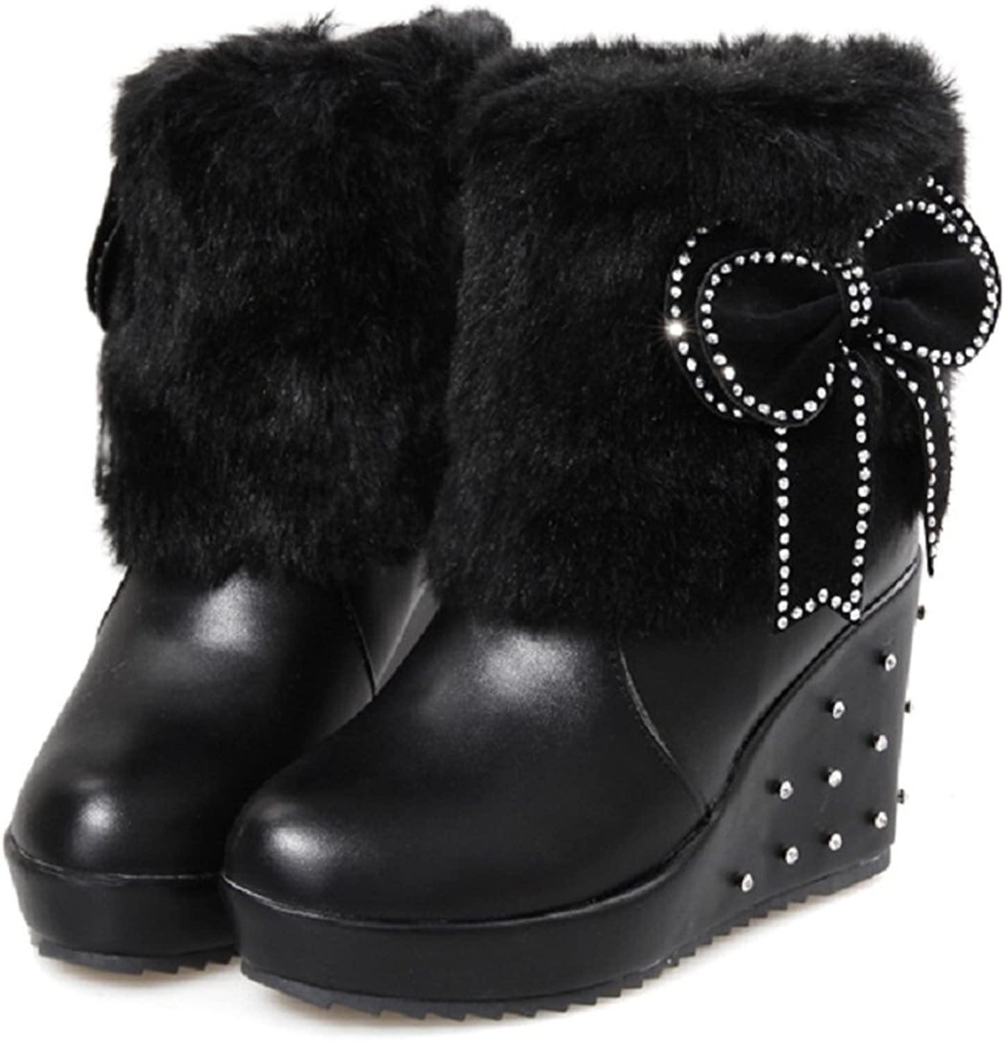 Caddy Wolfclaw Women Cute Bowknot Rhinestone Winter Fur Lined Wedge Platform Snow Boots Warm Fur Ankle High Boots