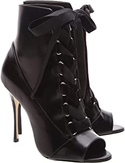 Alexia Black Leather Peep Toe Laceup Edgy High Heel Stiletto Ankle Bootie