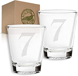 Stickerslug Engraved Number 7 Style 27 Seven Shot Glasses, 1.5 ounce, Set of 2