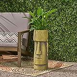 Glacier Antique Green Cast Stone Outdoor Easter Island Tiki Urn Modern Contemporary Round