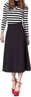 Elastic Waist A-line Flared Long Skirt