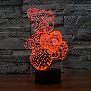 Bear with Love 3D Illusion Lamps,7 Colors Gradual Changing Touch Switch USB Table Lamp for Home Decor – Best Gift for Kids/Friends/Birthdays/Holidays