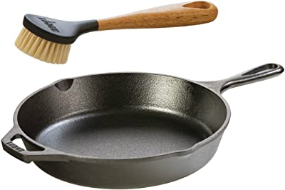 Amazon.com: Lodge Seasoned Cast Iron Skillet with Scrub Brush- 10.25 inches Cast  Iron Frying Pan With 10 inch Bristle Brush: Home & Kitchen