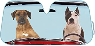 BDK AS- AS-766_AM 2 Dogs Auto Windshield Sun Shade for Car SUV Truck - Pet Pals - Double Bubble Foil Jumbo Folding Accordion
