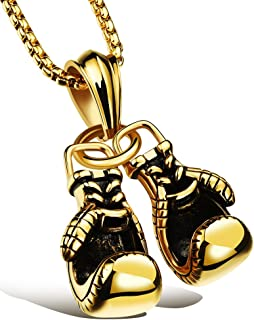 Men Punk Stainless Steel Boxing Gloves Chain Pendant Necklace
