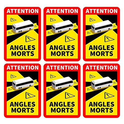 "Neu Fahrzeug-Aufkleber""Angles Morts"" - Hinweisschild Angles Morts für Frankreich | als Aufkleber oder magnetisch | mit LKW oder Bus-Motiv | Warnung vor Totem Winkel (Buswagen-Motiv) (6PC)"