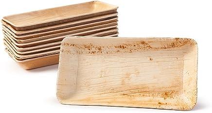 Preisvergleich für BIOZOYG Snack Schälchen Set I 25 Bio Einweg Schalen rechteckig 125ml, 13,5x8cm I Partygeschirr kompostierbar, biologisch abbaubar I Palmblätter Einweg-Geschirr für Fingerfood Dips Verkostung Buffet