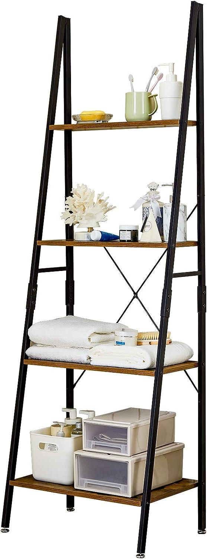 Linsy Home Ladder Shelf Bookcase, Industrial 4 Tier Bookshelf, Storage Rack Shelves Display Boho Decor for Bathroom, Living Room, Wood Look, and Metal Frame, LS200P1-A
