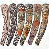Gospire 6 Pcs Stretchy Nylon Fake Temporary Tattoo Sleeves Body Art Arm Stockings Slip Accessories Halloween Tattoo Soft For Men Women