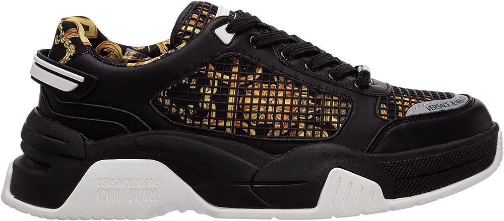 Versace jeans scarpe sneakers per uomo in tessuto e pelle E0YWASF971970M27