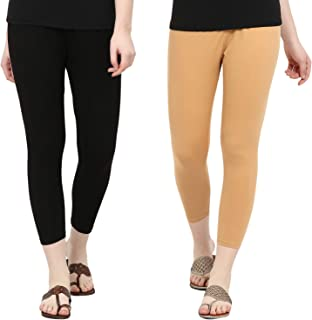 NGT Ankle Length Beige and Black Cotton Lycra Leggings For Women Pack Of Two