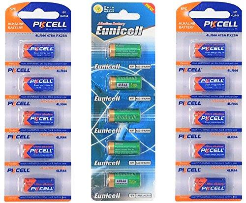 15 x 4LR44 6V (10 Batterien PKCELL u. 5 Batterien Eunicell) Quecksilberfreie Alkaline Batterien PX28, 4G13, 476A, L1325 EINWEG (PKCELL u Eunicell) FBA