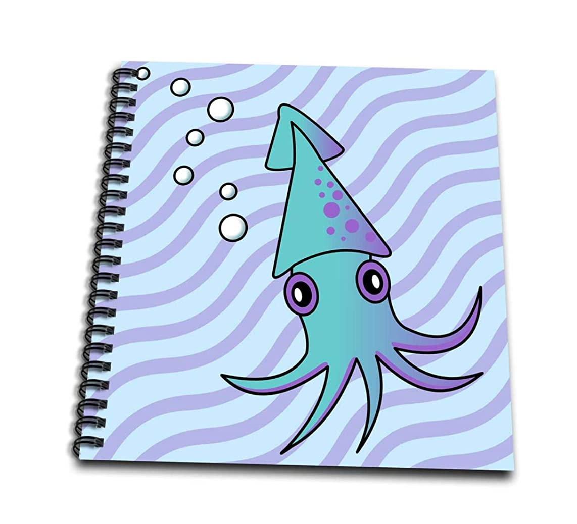 3dRose db_13789_1 Cute Blue and Purple Squid-Drawing Book, 8 by 8-Inch