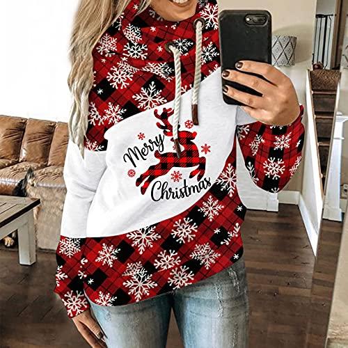 Damen Pullover Vintage Sweatshirt Weihnachts Sweatjacke: mit Kapuze Pulloverjacke Einstellbar Kordel Blusen Casual Passt Rollkragenpullover Mode...