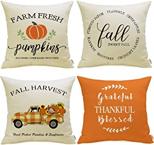 Meekio Fall Decorations for Home Set of 4 Fall Pillow Covers 18 x 18 Buffalo Check Truck Quote Cushion Covers for Fall Decor Thanksgiving Gifts