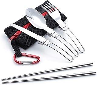 MAGNA(マグナ) 折畳式 シングル カトラリー メッシュタイプ 収納袋 フォーク スプーン ナイフ つなぎ箸 カラビナ 6点セット