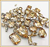BrillaBenny Mix 50 Pietre CASTONI Strass da Cucire Vetro CABOCHON Sew On Rhinestone Claw Clothes Shoes Decoration Stone DIY Accessories (Champagne Oro)