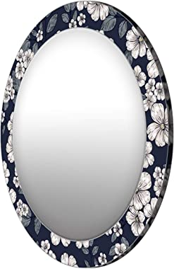 999Store Printed White Flowers and Leaves Round Mirror (MDF_17X17 Inch_Multi)