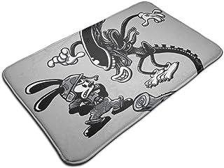 HUTTGIGH Oswald The Lucky Rabbit Vs Alien - Alfombrilla antideslizante para puerta de entrada, alfombra de baño, alfombra ...