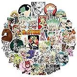 BAIMENG Pegatinas de Anime japonés Dr.Stone para refrigerador, Casco de Coche, Cuaderno de Guitarra DIY, baúl de Skate, 50 unids/Pack