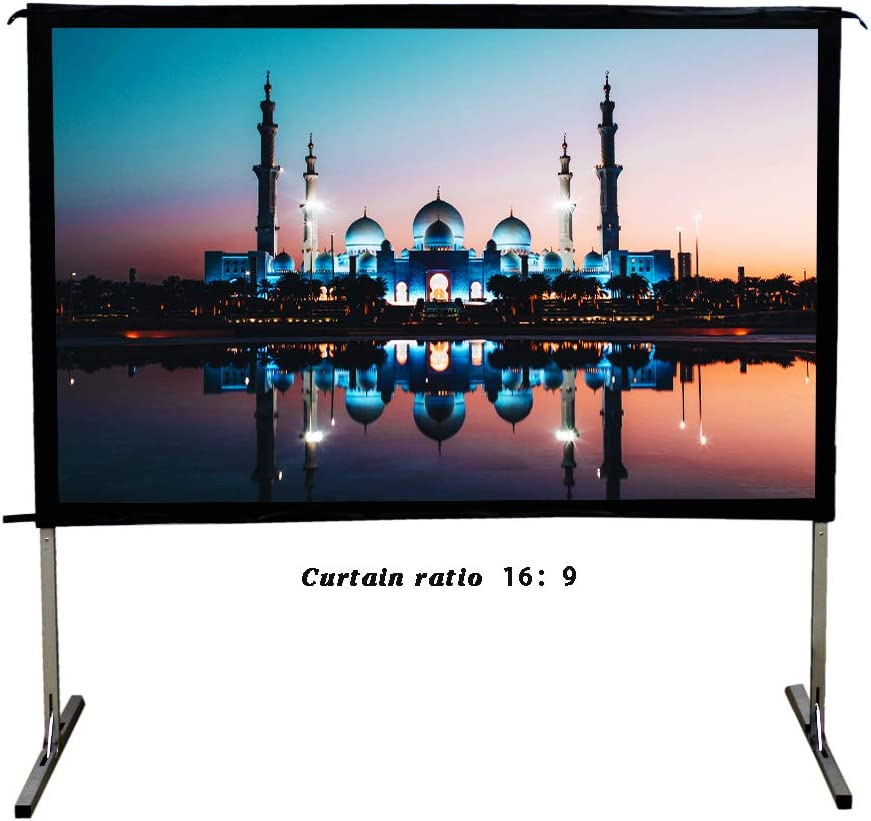 SW-LAMP Indoor Outdoor Projector Screen 16:9 Fast Folding Portable Screen 90 inch Large Projection Screen Front Projection for Camping or Home Theatre (16:9-120 Inch)