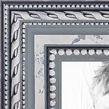 ArtToFrames 8x10 inch Ornate SIlver Wood Picture Frame, WOM80801-SLV-8x10
