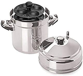 Tabakh IC-215 Stainless Steel Cooker with Non-Stick 4-Rack Idly Stand, Makes 20, Silver