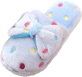 Cute Bow Slippers Warm Memory Foam Cotton Home Slippers Soft Fleece Plush House Slippers Indoor Outdoor
