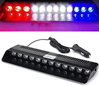XT AUTO 12V Car Truck Emergency Strobe Flash Light Sucker Dashboard Interior Windshield Warning Light Bar Red White White Blue