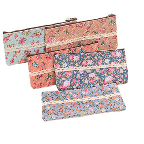 GO-OFFICE Flower Floral Zipper Pencil Case or Cosmetic Bag Pouch For Back to Schol Boy Girl Student School Office Craft?Set of 5?