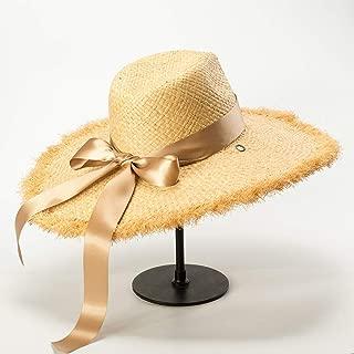 Hats Women's Hat with Ribbon Fringe Sun Hat Beach Wear Beige Fashion (Color : Beige, Size : Free Size)