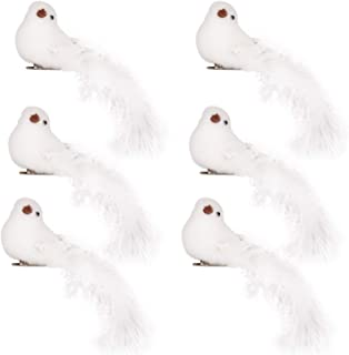 QILICHZ True to Nature Artificial White Bird Clip on Christmas Ornaments, DIY Decorations for Wedding,Christmas Tree Toppers Set of 6 pcs