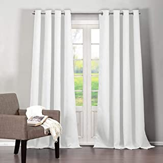 Blackout365 Quincy Solid Faux Silk Textured Blackout Darkening Grommet Top Window Curtains Pair Drapes for Bedroom, Living Room-Set of 2 Panels, W38 X L84, White
