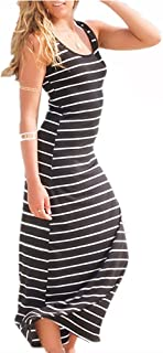Women's Sleeveless Scoop Neck Striped Loose Long Dress