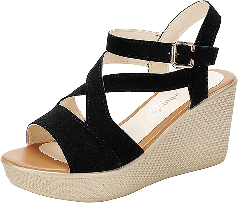 Women's Summer Sandals Wedge Heels Thick-soled Buckle Belt Shoes Open Toe Adjustable AnkleStrap Sandals Comfortable High Heels