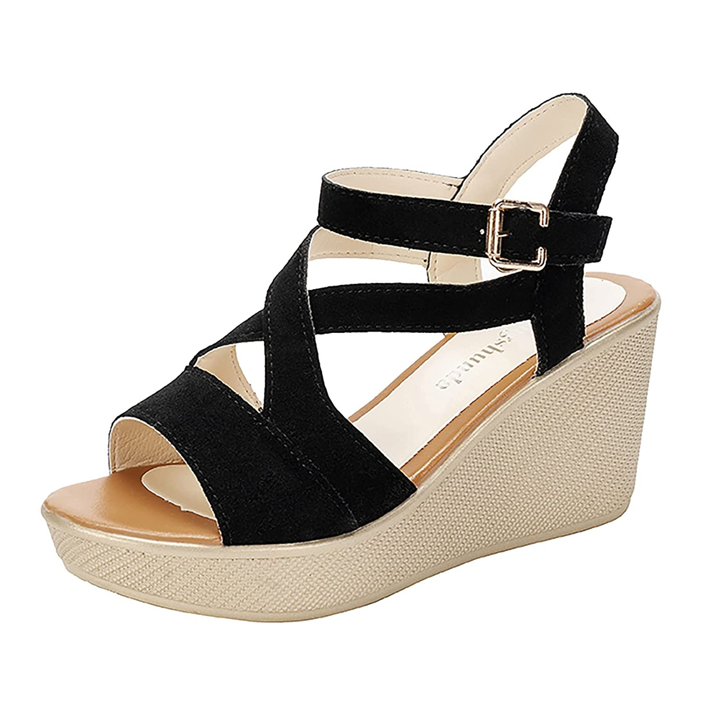 Reokoou Women's Wedge Miami 2021 model Mall Sandals Comfortable Sh Soled Platform Soft