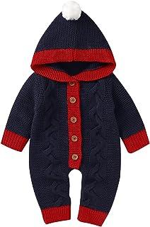 طفل الفتيات الفتيان عيد الميلاد القطن محبوك مقنع سترة رومبير بذلة الرضع ملابس الشتاء (Color : Blue, Size : 3-6 Months)