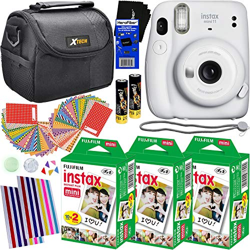 Fujifilm Instax Mini 11 Instant Camera (Ice White) + 3 Fujifilm Instax Mini Film Packs (60 Sheets), Carrying Case, 60 Sticker Frames, Corner Stickers & HeroFiber Cleaning Cloth for Fujifilm Camera