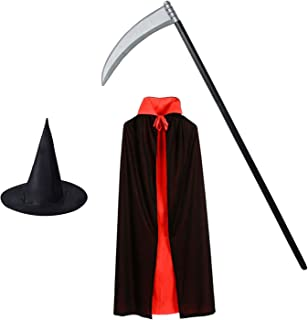 Halloween Wizard Costume Accessories Black Wizard Hat and Wizard Robe and Plastic Grim Reaper Scythe Weapon Halloween Costumes for Kids Set of 3