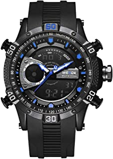 WH6902 Dual Display Two Movement Quartz Digital Men Watch 3ATM Waterproof LCD Backlight Sport Alarm Calendar Week Auto Date Stopwatch Timer 24 Hours Wristwatch with Luminous Pointers Hands PU