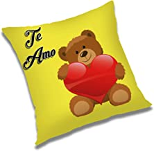 RADANYA Te Amo 3D Printed Polyester Cushion Cover - 20x20 Inch, Yellow