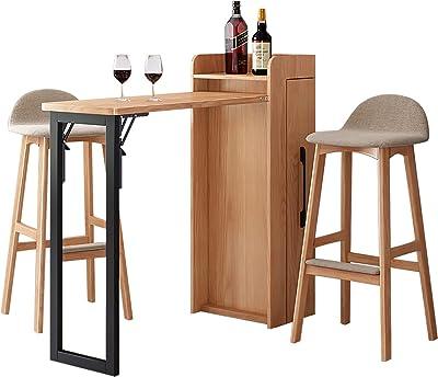 PWE-家庭用折りたたみ式バーテーブル、収納機能付き格納式テーブル、安定したサポート、省スペース,Wood color