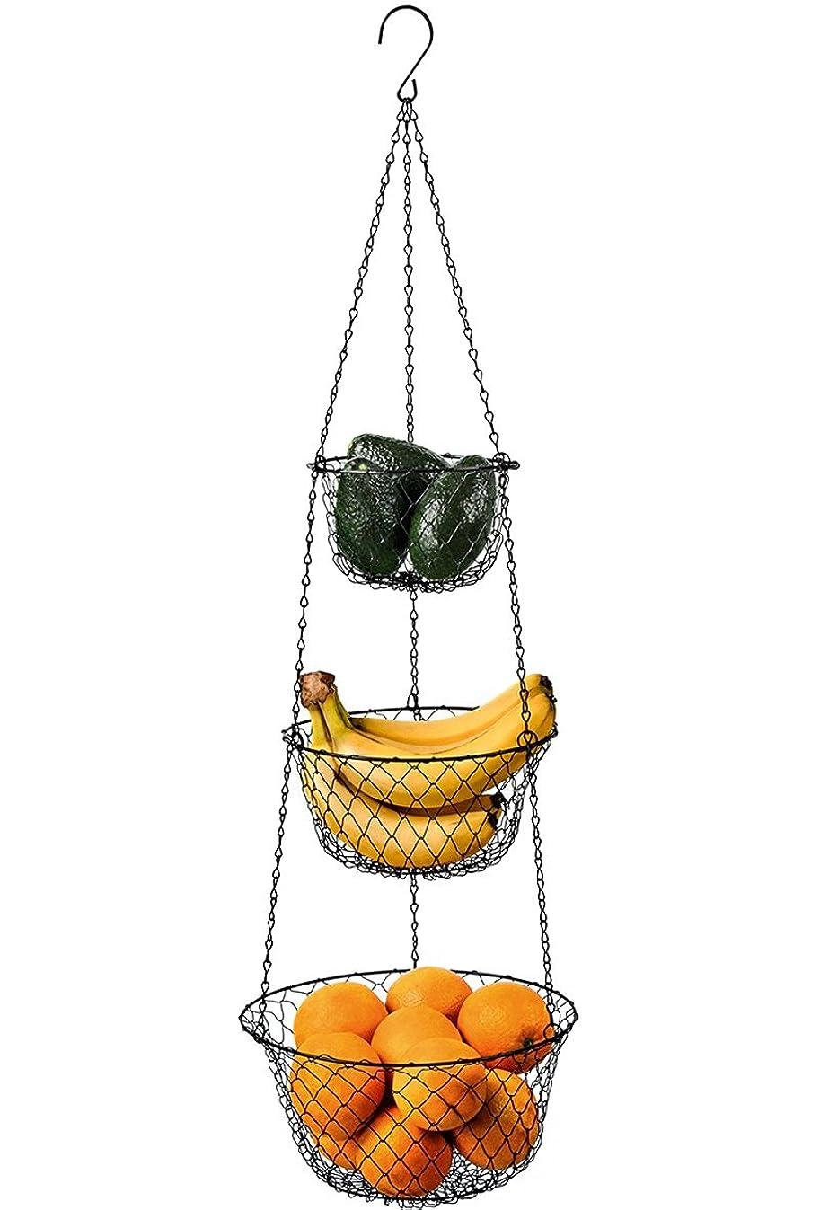 Deppon 3-Tier Wire Hanging Fruit Baskets, Vegetable Food Kitchen Storage Basket, Heavy Duty Wire Black