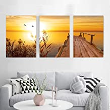 Three-piece painting sunset nature beach landscape poster wall decoration home decoration party-35x50cmx3pcsWith frame