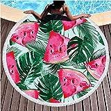LIUNIAN Flamenco Toalla de Playa Toallas de baño Redondas Grandes de Secado rápido con borlas Estera de Yoga Redonda Manta de Playa para niños, niñas y niños, 150 CM x 150 CM