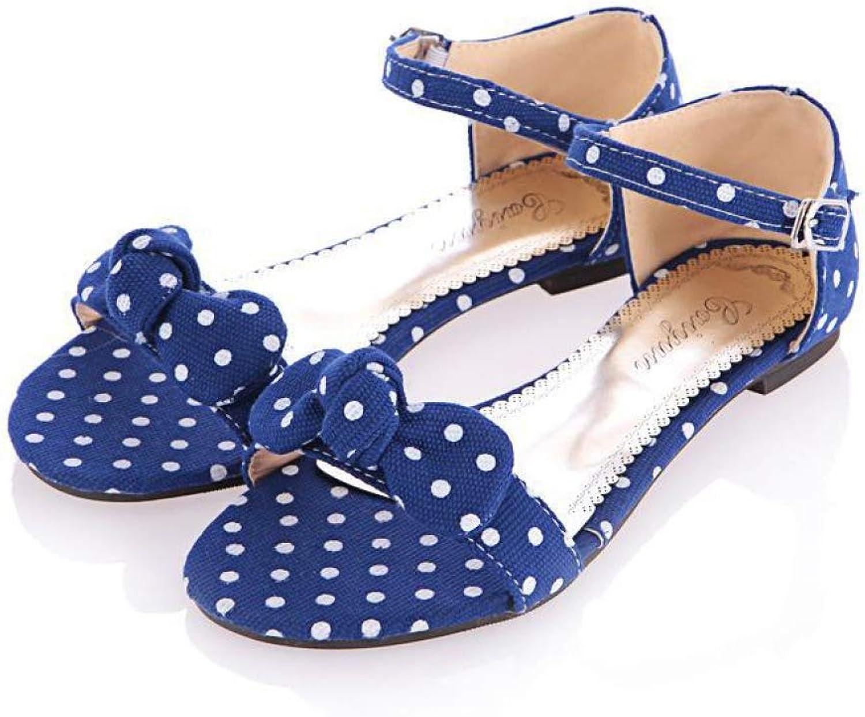 T-JULY Women's Sandal Open Toe Sweet Style Polka Dot Bow Flat shoes for Summer